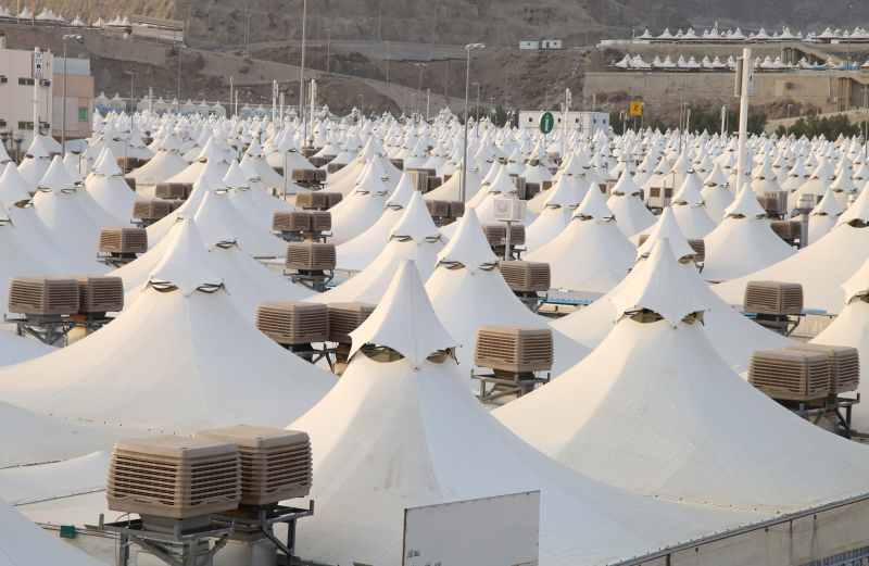 A view of the tent city in Mina Valley, Saudi Arabia, with Seeley International's Breezair air conditioners installed.