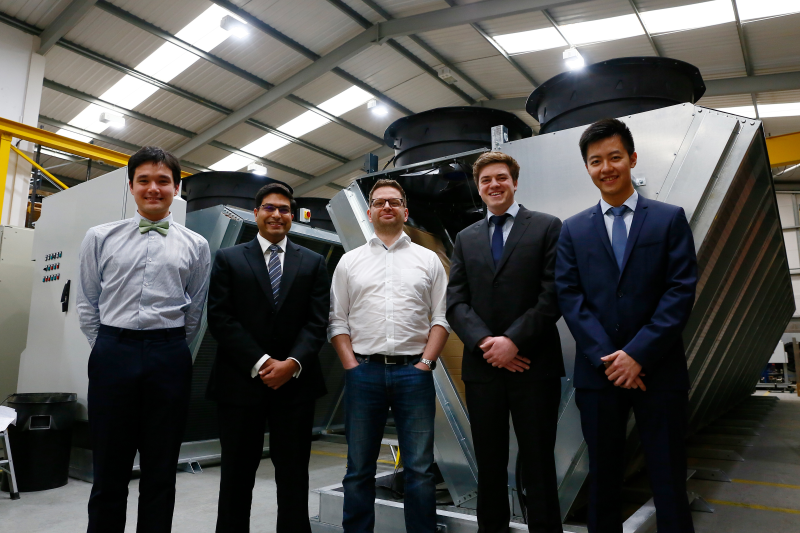 The first four Transtherm engineers to join the chartership scheme, with Nick Bound. Left to right: Justin Stinson, Clayton Dsouza, Nick Bound, Andrew Kinder and Jonathan To.