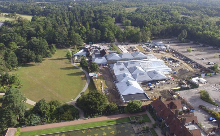 Aerial view of RHS Wisley's new development.