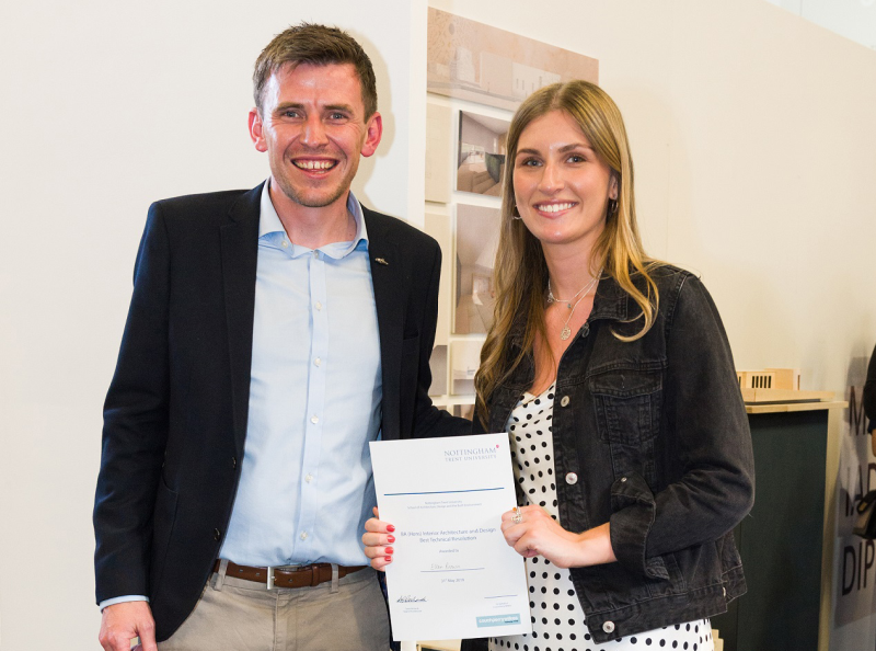 Alex Jones, director at CPW, with Ellen Brown, winner of the  best technical response award.