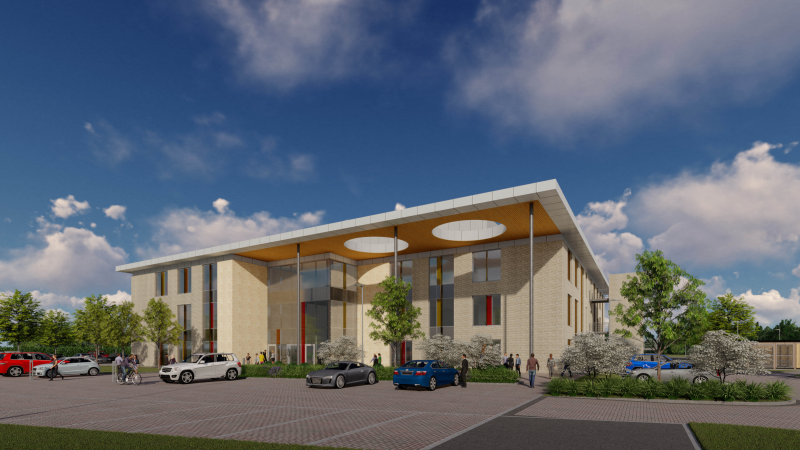 A CGI of what the new office building at Gloucester Business Park will look like.