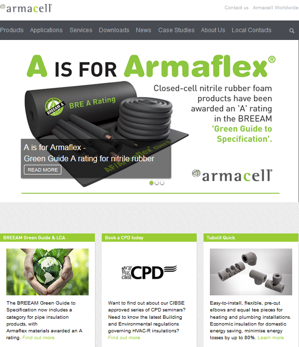 Armacell UK website relaunch